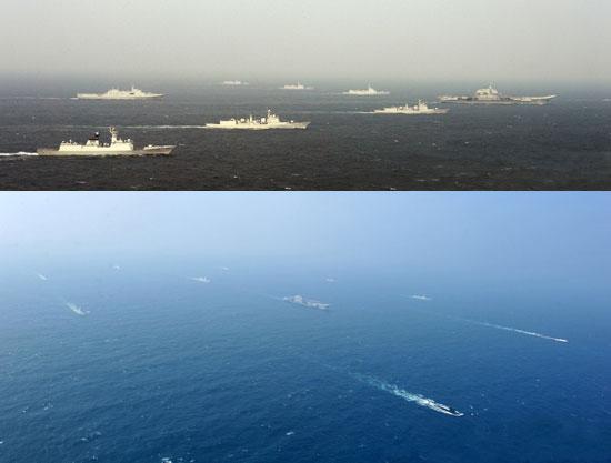 中国航母战斗群在南海进行编队试验