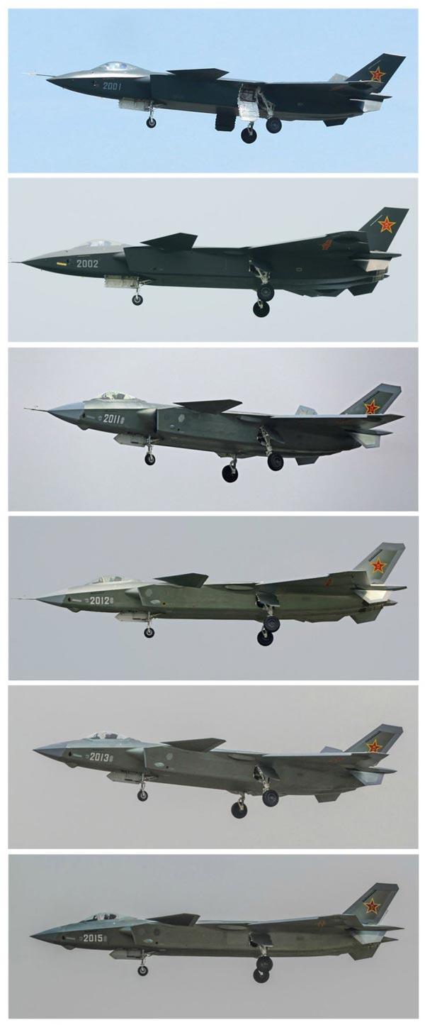 J20从2001到2015六架已试飞验证机和原型机